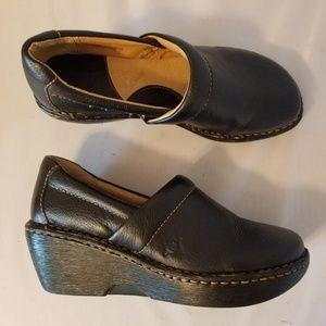 Born Black Leather Platform Loafers
